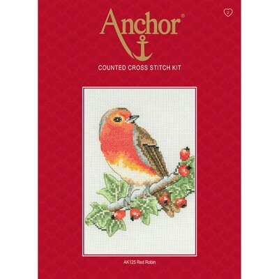 Anchor Starter Cross Stitch Kit - Red Robin