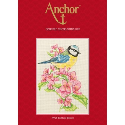 Anchor Starter Cross Stitch Kit - Bluetit and Blossom