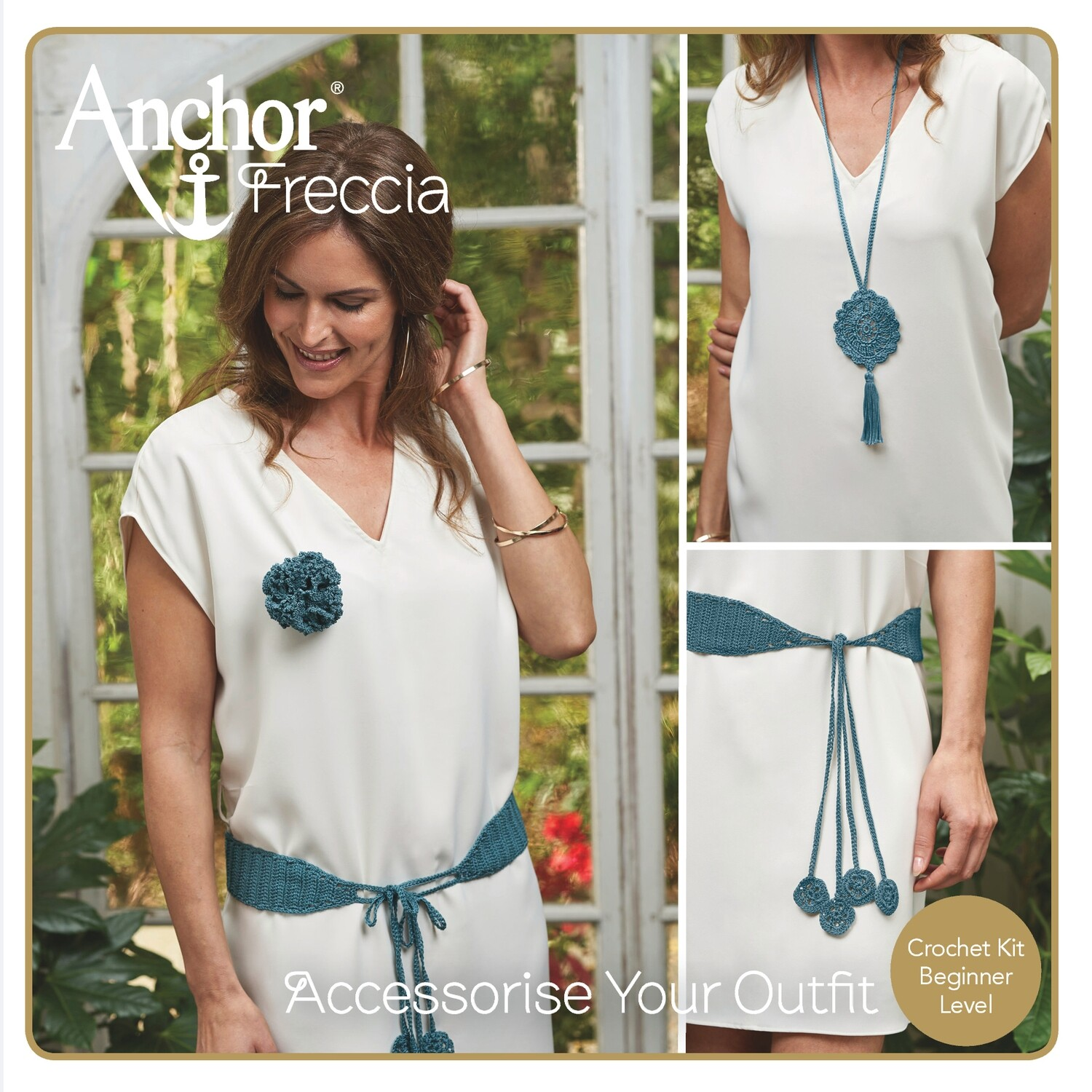 Anchor Crochet Kit - Accessorize Your Outfit: Belt, Necklace & Brooch