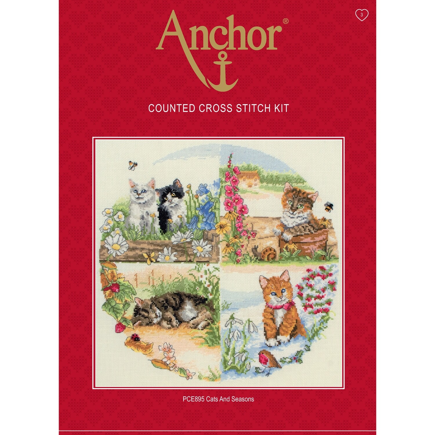 Anchor Essentials Cross Stitch Kit - Cats and Seasons