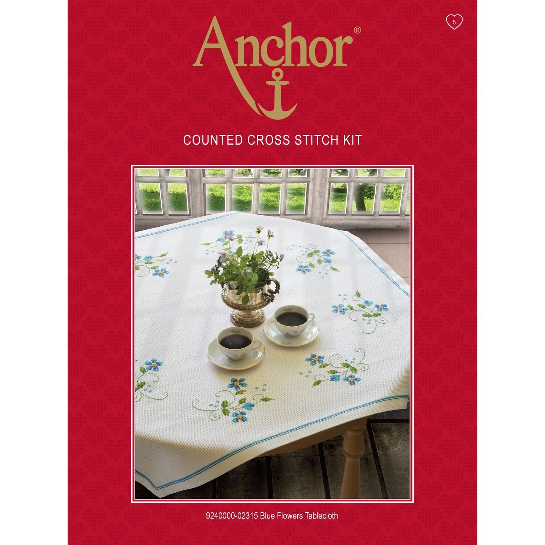 Anchor Essentials Cross Stitch Kit - Blue Flower Tablecloth