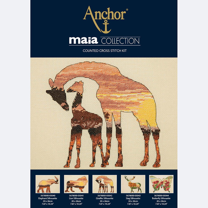 Maia Cross Stitch Kit - Giraffes Silhouette 20x26cm