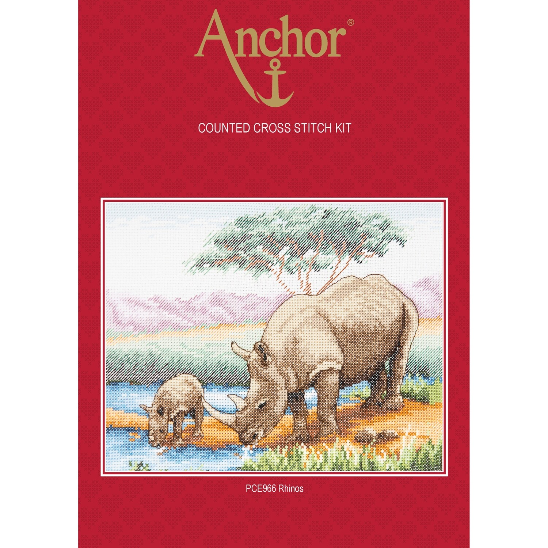 Anchor Essentials Cross Stitch Kit - Rhinos