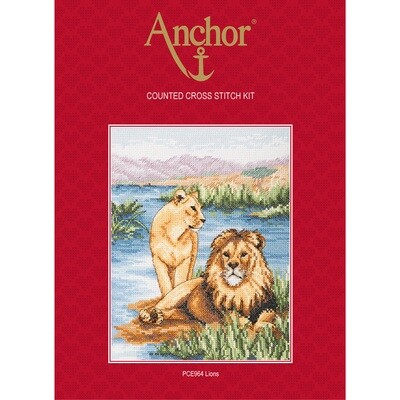 Anchor Essentials Cross Stitch Kit - Lions