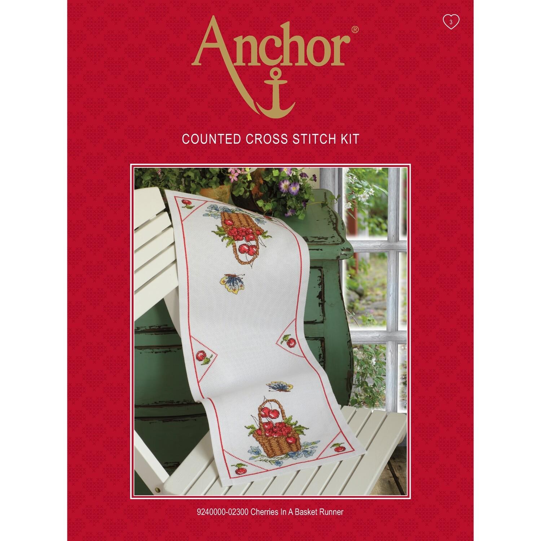 Anchor Essentials Cross Stitch Kit - Cherries in a Basket Runner
