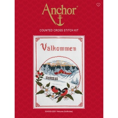 Anchor Essentials Cross Stitch Kit - Welcome (Bullfinches)