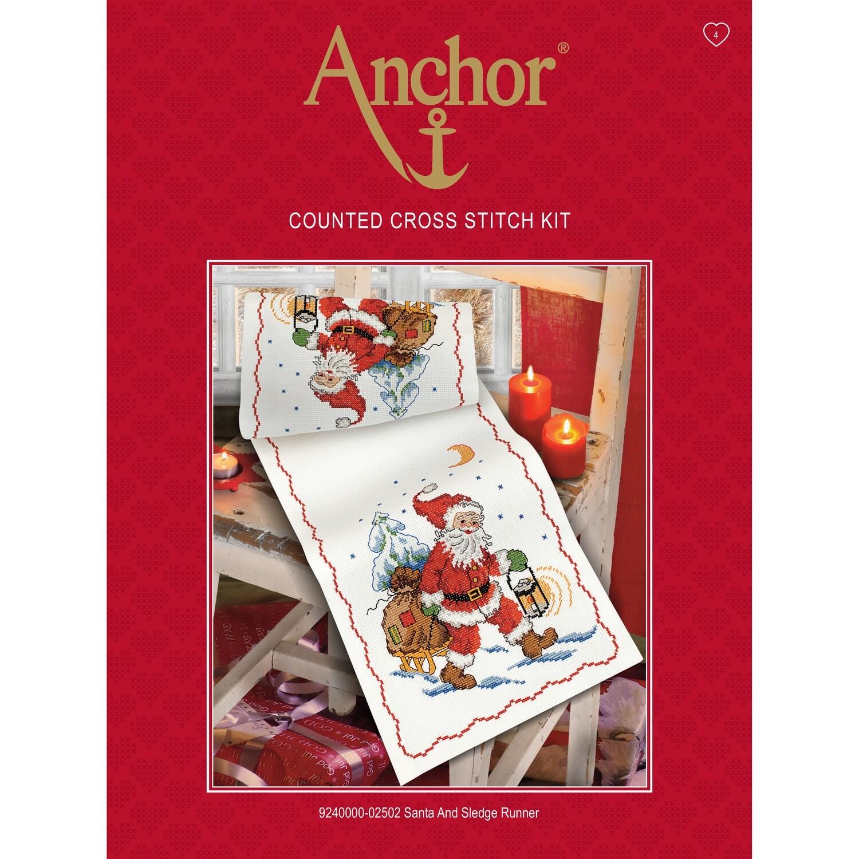 Anchor Essentials Cross Stitch Kit - Santa & Sledge Runner