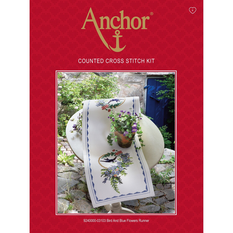 Anchor Essentials Cross Stitch Kit - Bird & Blue Flowers Runner
