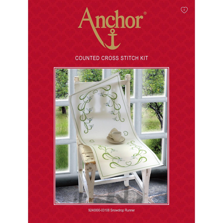 Anchor Essentials Cross Stitch Kit - Snowdrop Runner