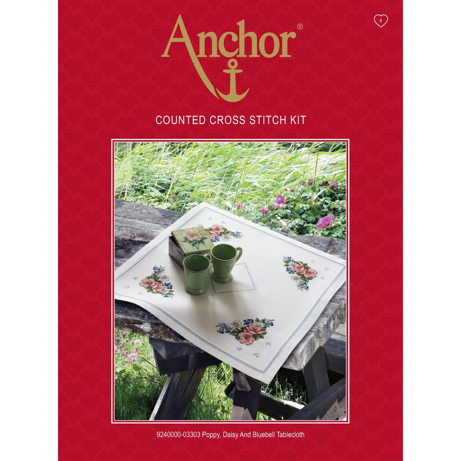 Anchor Essentials Cross Stitch Kit - Poppy Daisy & Bluebell Table