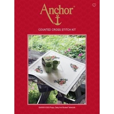 Anchor Essentials Cross Stitch Kit - Poppy Daisy & Bluebell Table