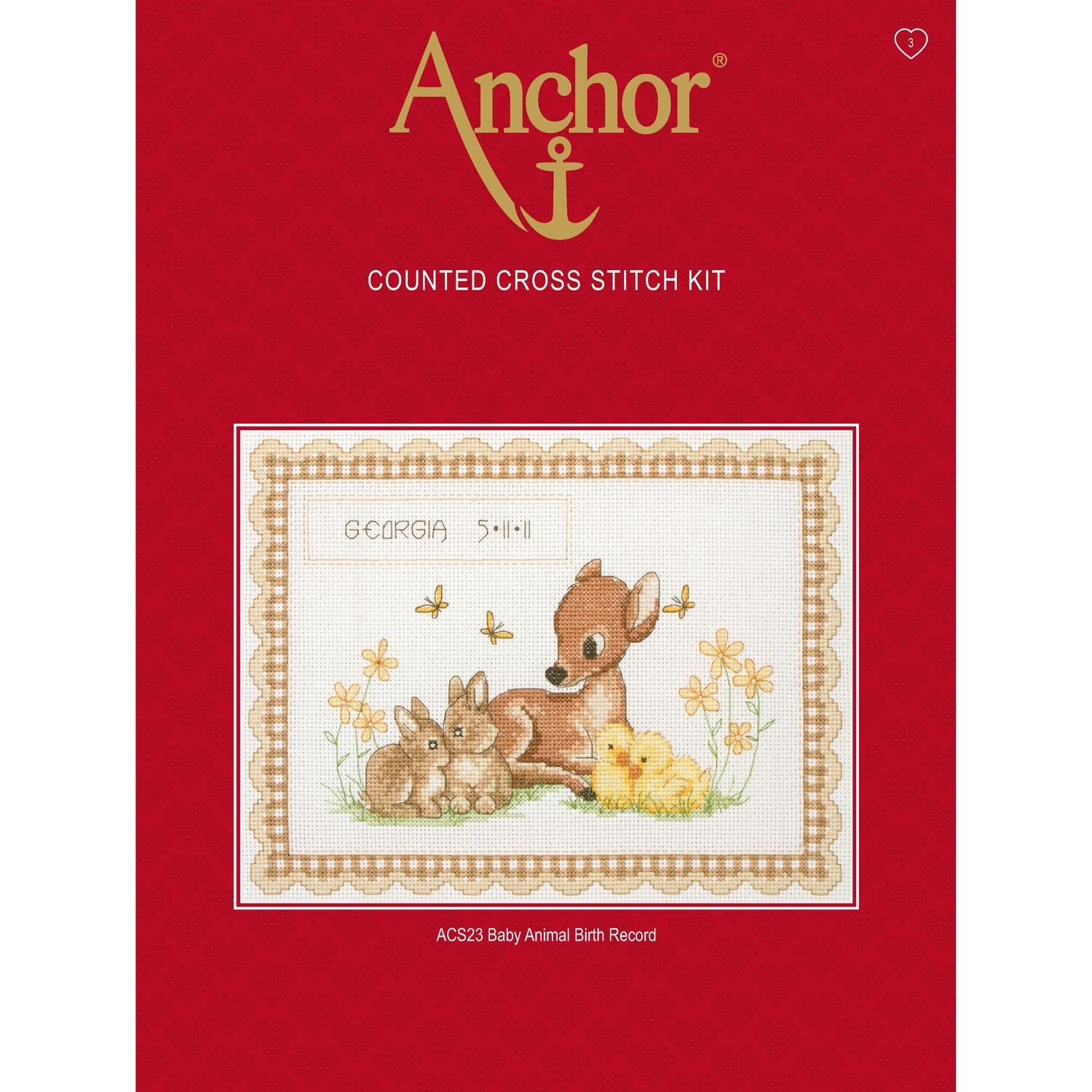 Anchor Essential Cross Stitch Kit - Baby Animals Birth Record