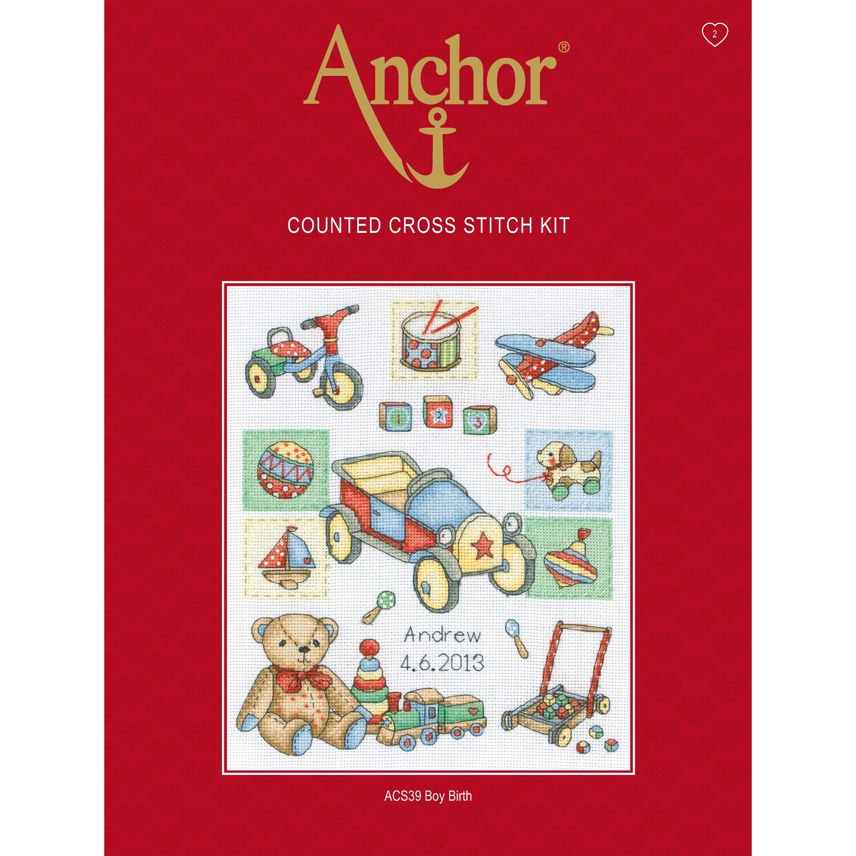 Anchor Essentials Cross Stitch Kit - Boy Birth Sampler