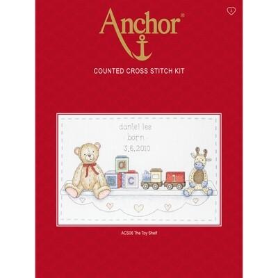 Anchor Essentials Cross Stitch Kit - Toy Shelf Birth Sampler