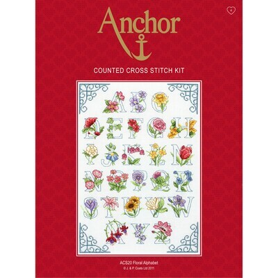 Anchor Essential Cross Stitch Kit - Floral Alphabet