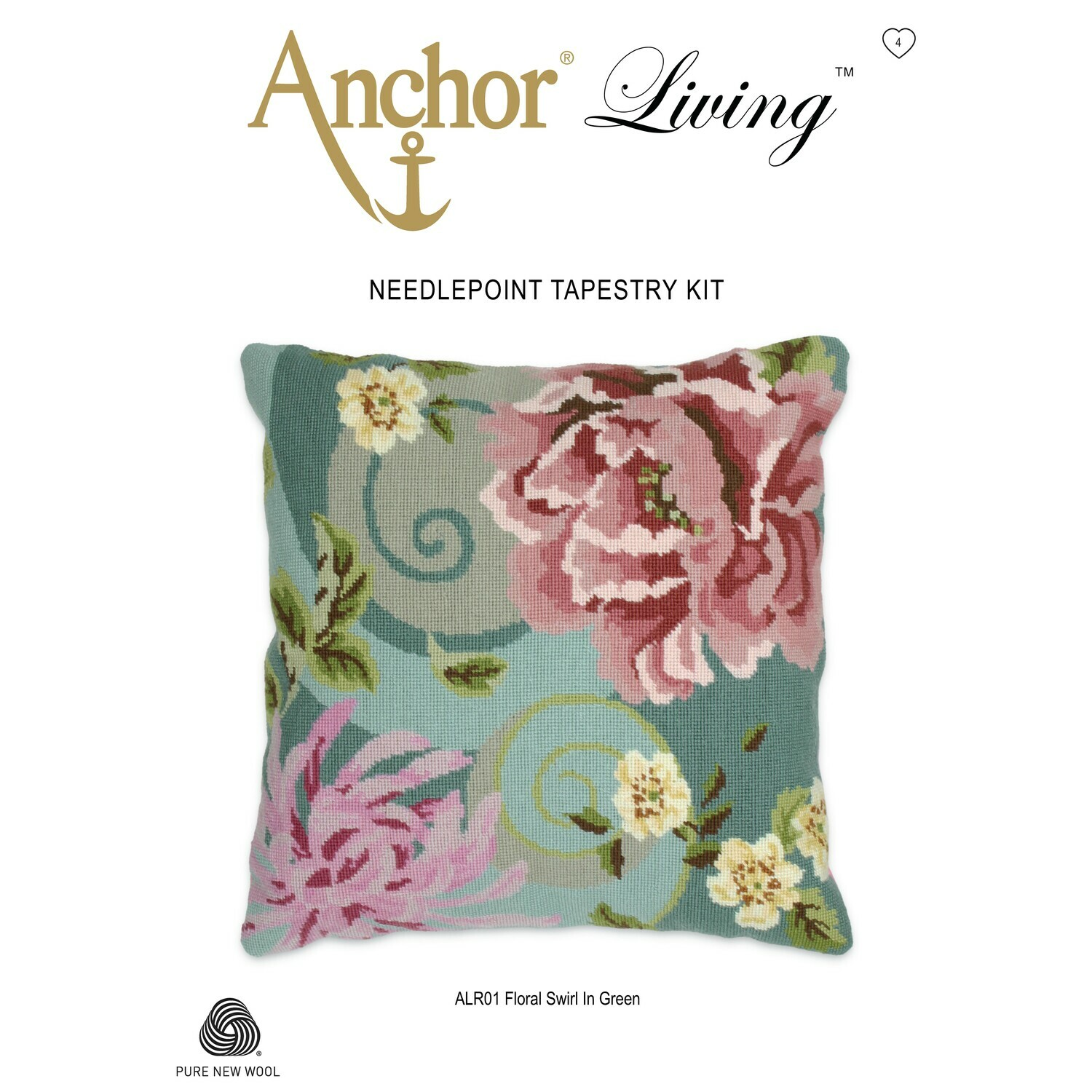 Anchor Living Tapestry Kit - Tapestry Floral Swirl in Green Cushion
