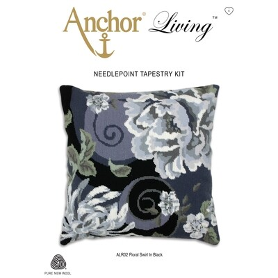 Anchor Living Tapestry Kit - Tapestry Floral Swirl in Black Cushion