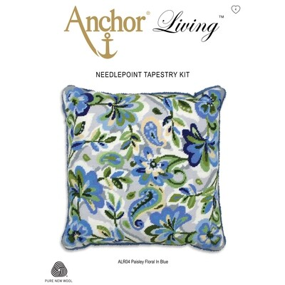 Anchor Living Tapestry Kit - Tapestry Paisley Floral Blue Cushion