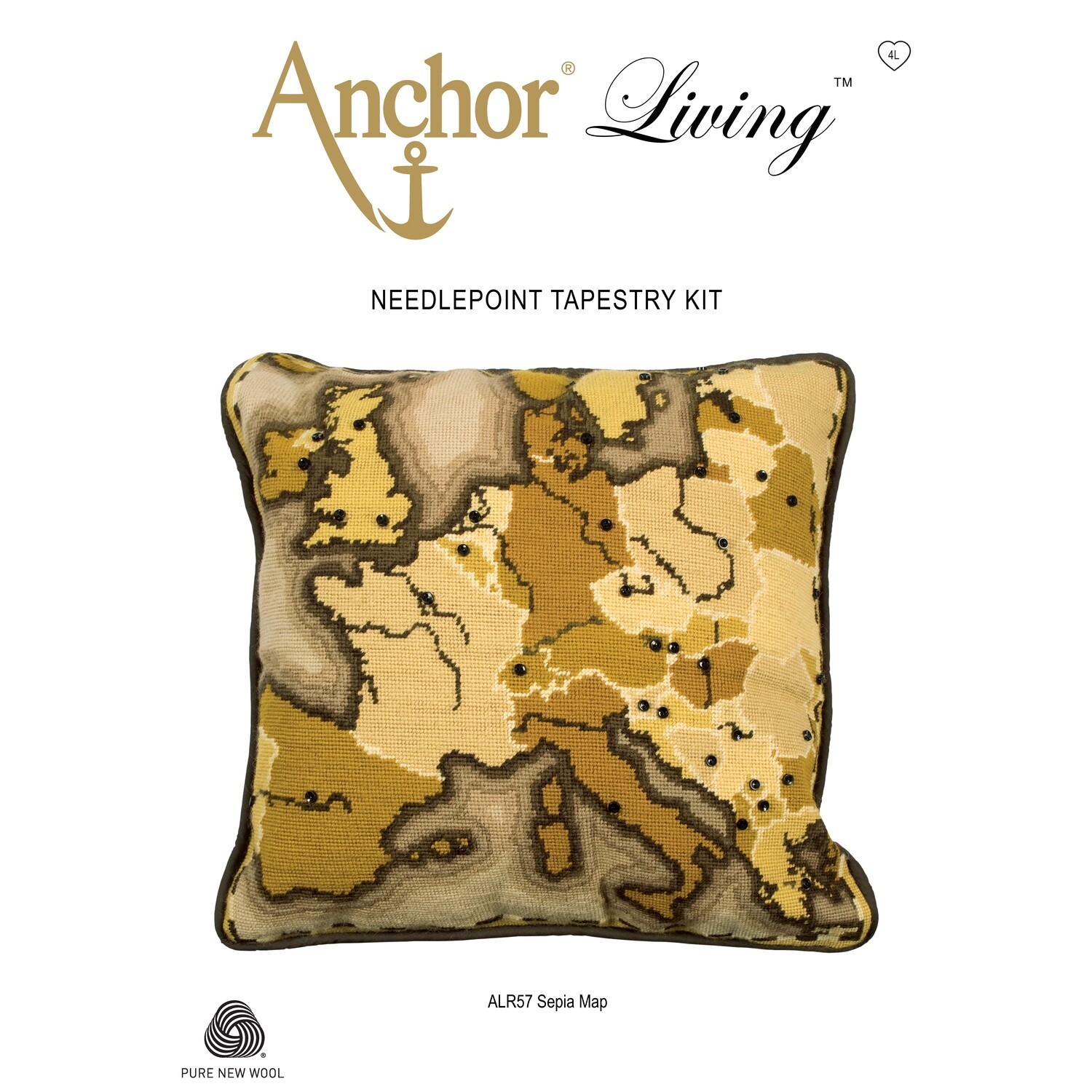 Anchor Living Kit - Tapestry Sepia Map Cushion