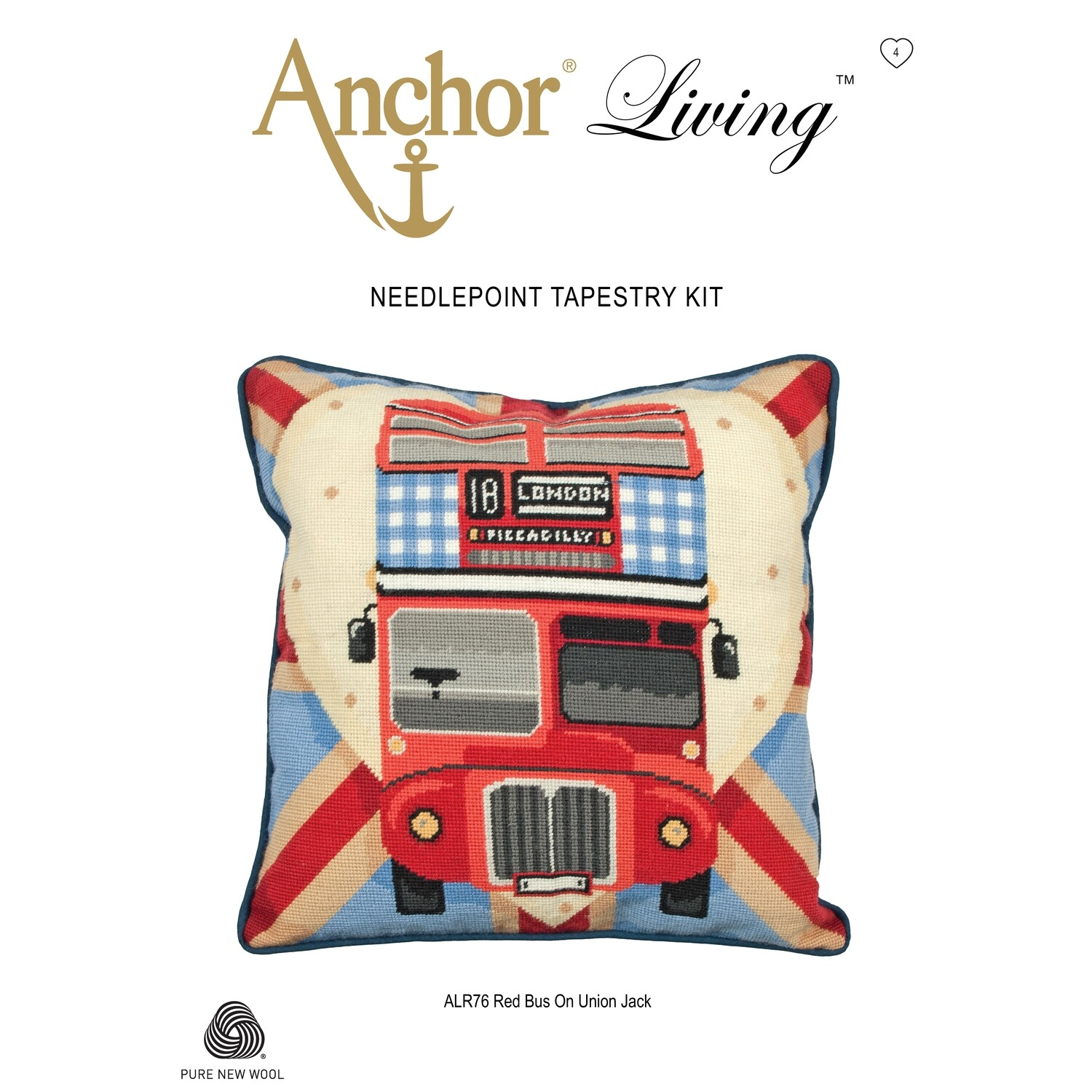 Anchor Living Tapestry Kit - Tapestry Red Bus on Union Jack Cushion
