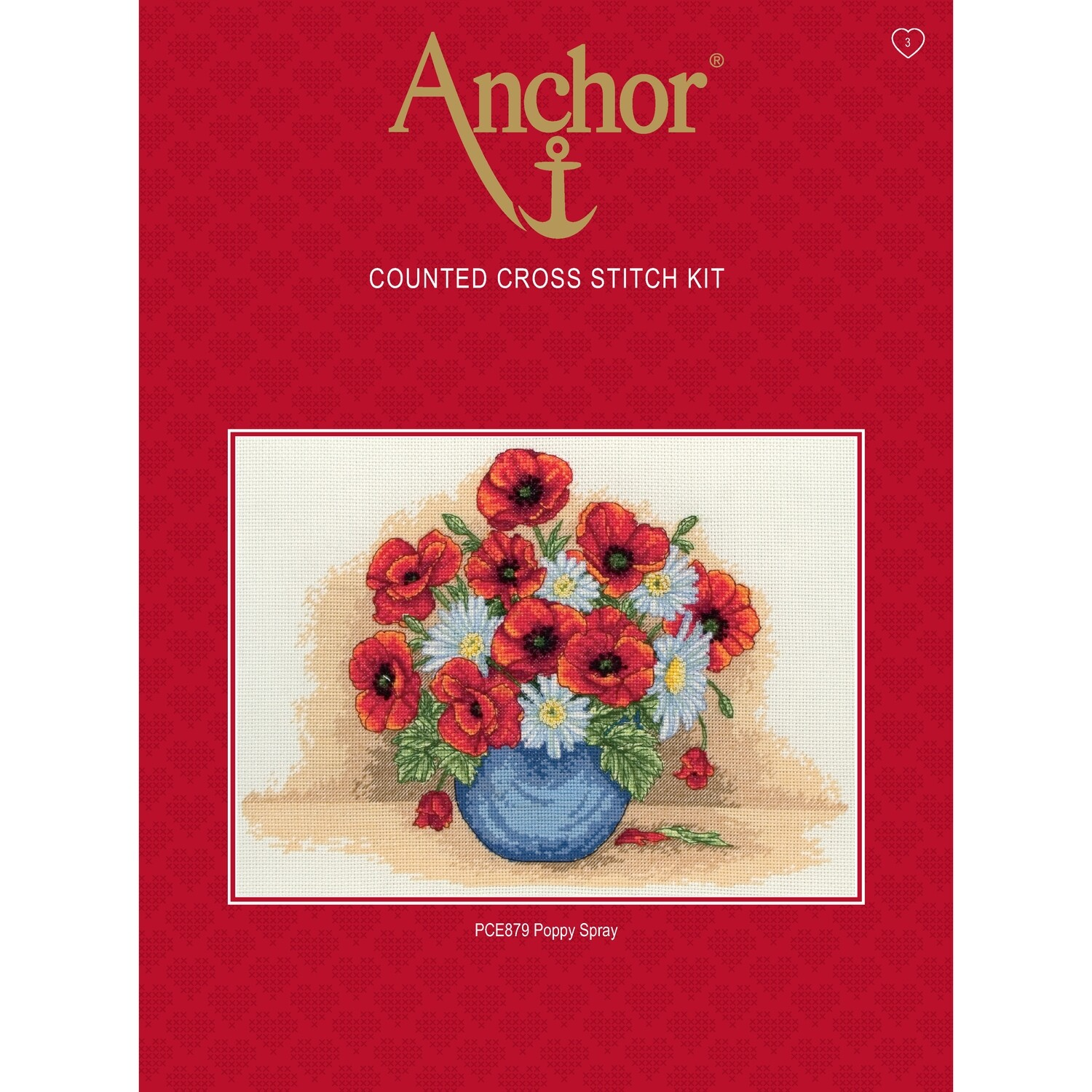 Anchor Essentials Cross Stitch Kit - Poppy Spray