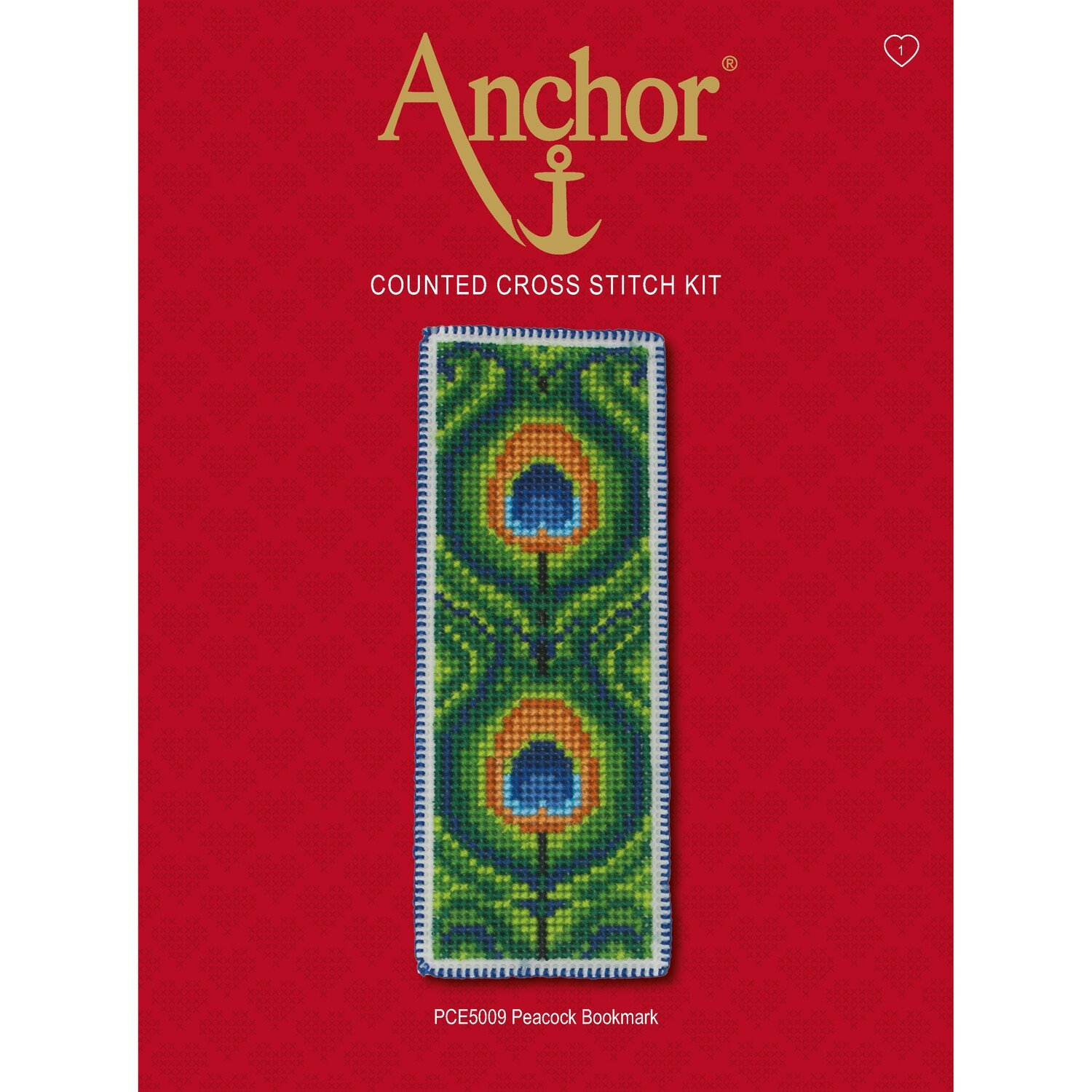 Anchor Essentials Cross Stitch Kit - Peacock Bookmark