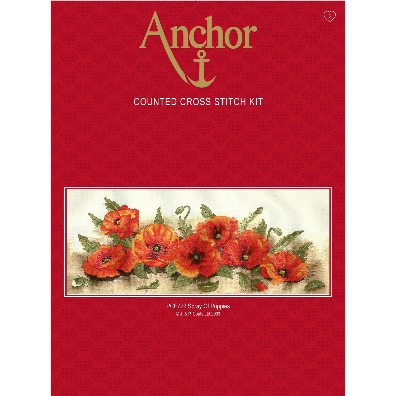Anchor Essentials Cross Stitch Kit - Spray of Poppies