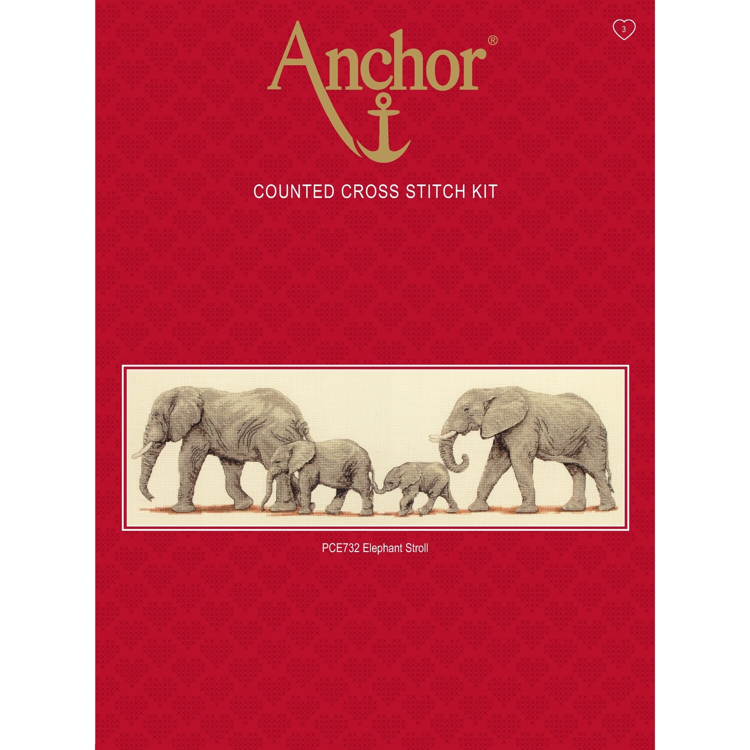 Anchor Essentials Cross Stitch Kit - Elephant Stroll