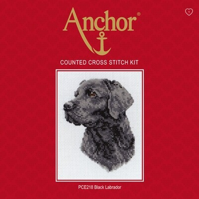 Anchor Essentials Cross Stitch Kit - Black Labrador
