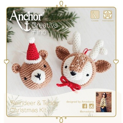 Anchor Essentials Crochet Kit - Reindeer and Teddy Christmas Kit