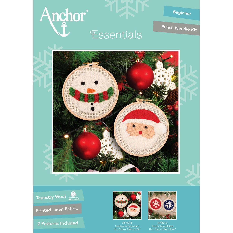 Anchor Essentials Punch Needle Kit - Santa & Snowman