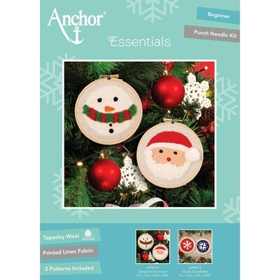 Anchor Essentials Punch Needle Kit - Santa & Snowman