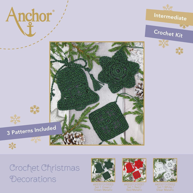 Crochet Christmas Decorations - Set 1 Green/Green Metallic