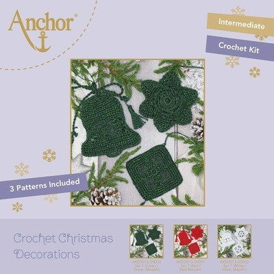 Crochet Christmas Decorations - Set 1 Green/Green Metallic