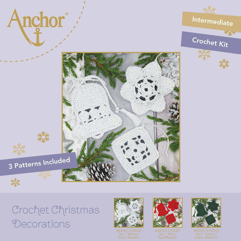 Crochet Christmas Decorations - Set 1 White/Gold Metallic