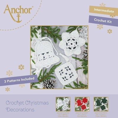 Crochet Christmas Decorations - Set 1 White/Gold Metallic