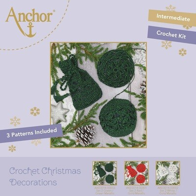 Crochet Christmas Decorations - Set 2 Green/Green Metallic