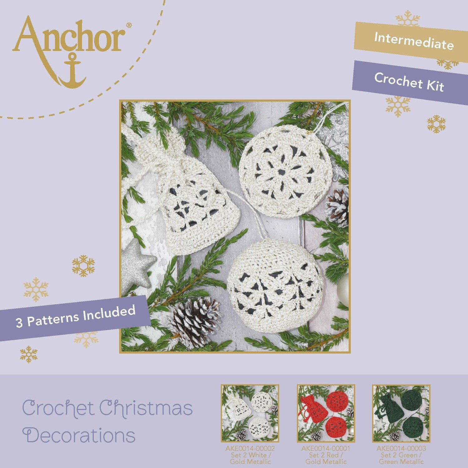 Crochet Christmas Decorations - Set 2 White/Gold Metallic