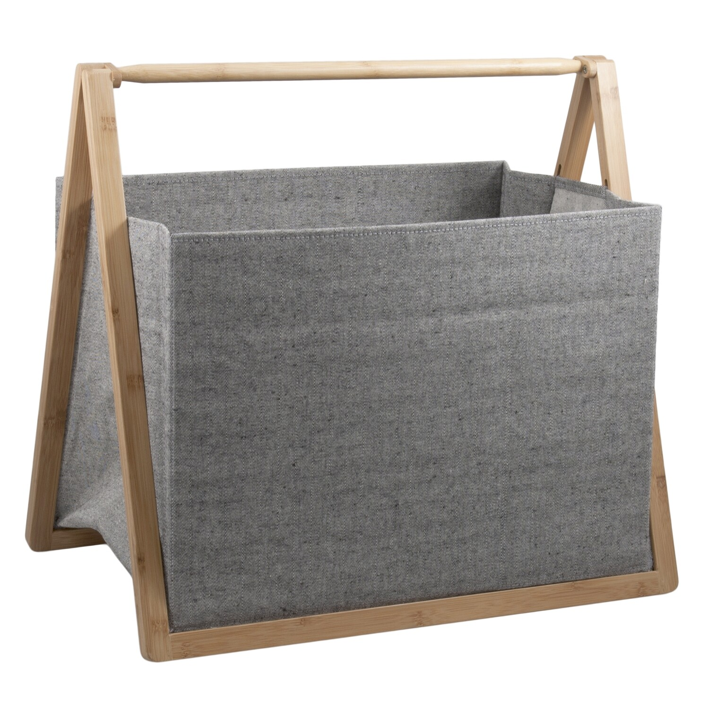 Folding Fabric Craft Basket - Grey