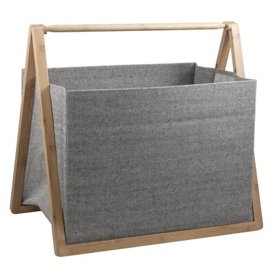 Folding Fabric Craft Basket - Grey