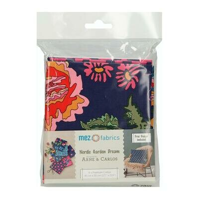 Pre-Cut Cotton - Arne & Carlos - Nordic Garden Dream - 6 Fat Quarter Bundle  (45 x 55 cm) - Blue