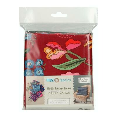 Pre-Cut Cotton - Arne & Carlos -  Nordic Garden Dream - 6 Fat Quarter Bundle  (45 x 55 cm) - Red