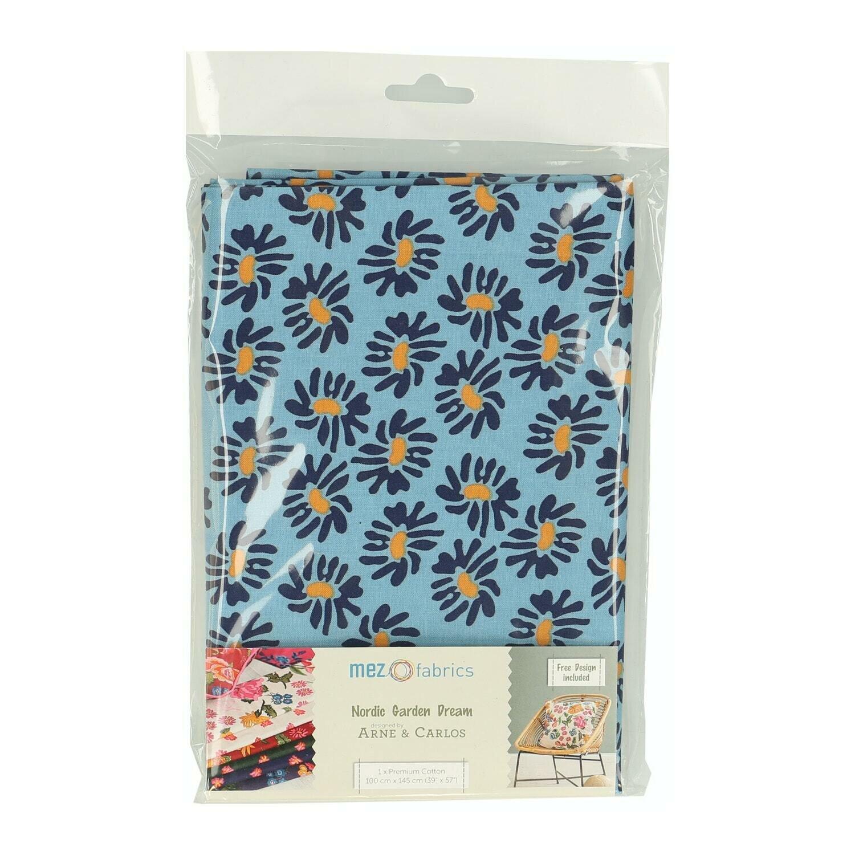 Pre-Cut Cotton - Arne & Carlos - Nordic Garden Dream - Solhatt-Blue (100 x 145 cm)