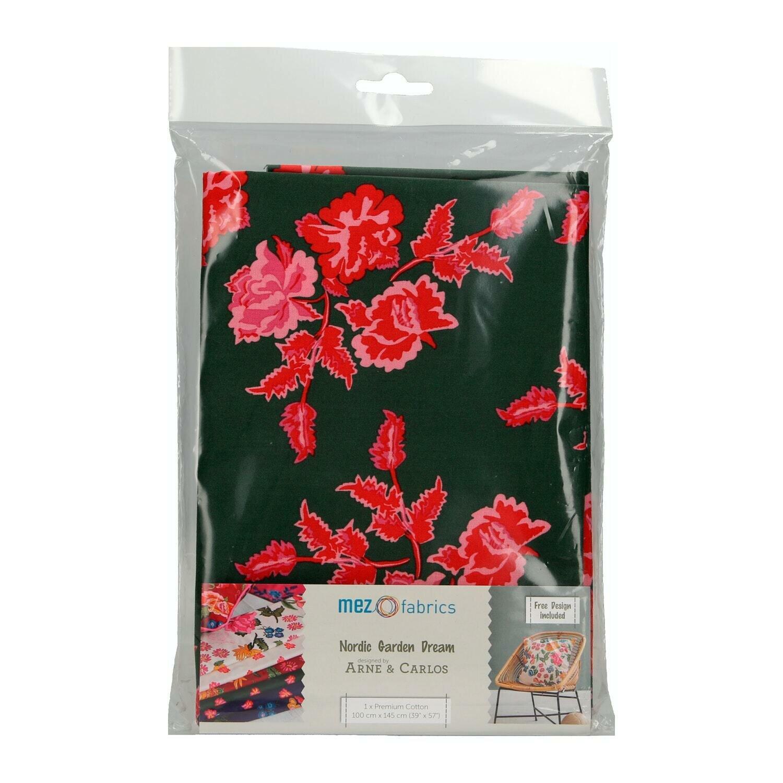 Pre-Cut Cotton - Arne & Carlos - Nordic Garden Dream - Nyperoser-Red (100 x 145 cm)