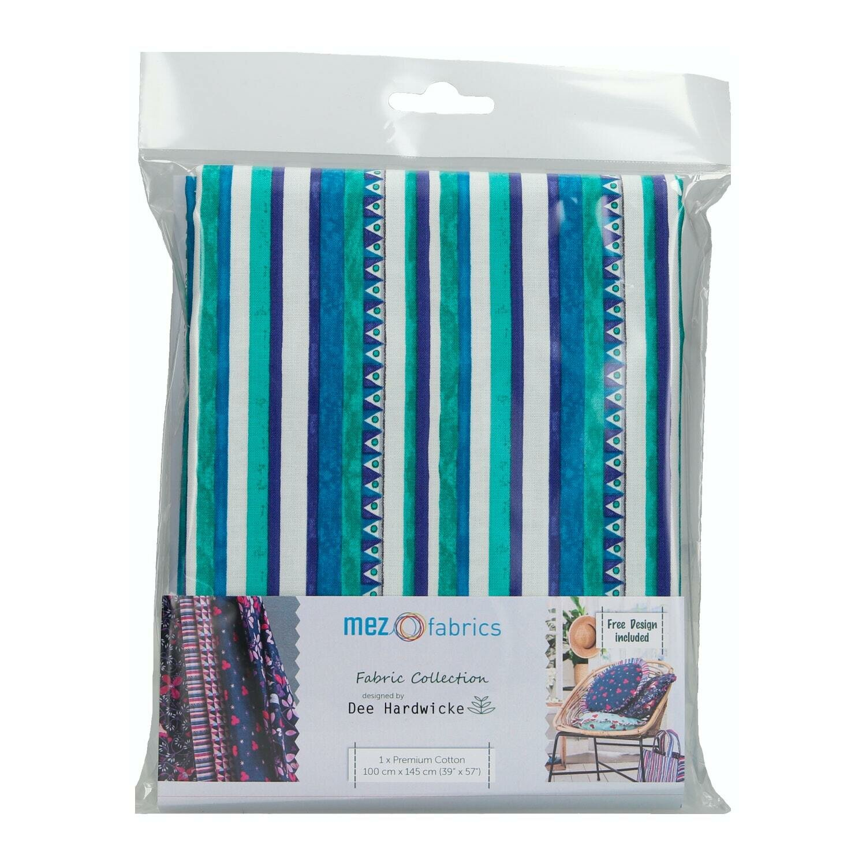 Pre-Cut Cotton - Dee Hardwicke - Triangle & Stripes - Blue (100 x 145 cm)