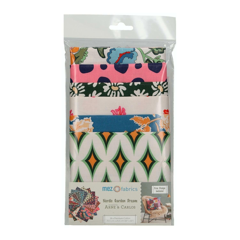 Pre-Cut Cotton - Arne & Carlos -  Nordic Garden 18 Pieces of Fabric (25,5 x 25,5 cm / 10 inch)