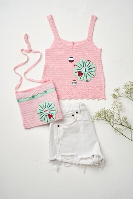 Light Pink Flower Patch Top