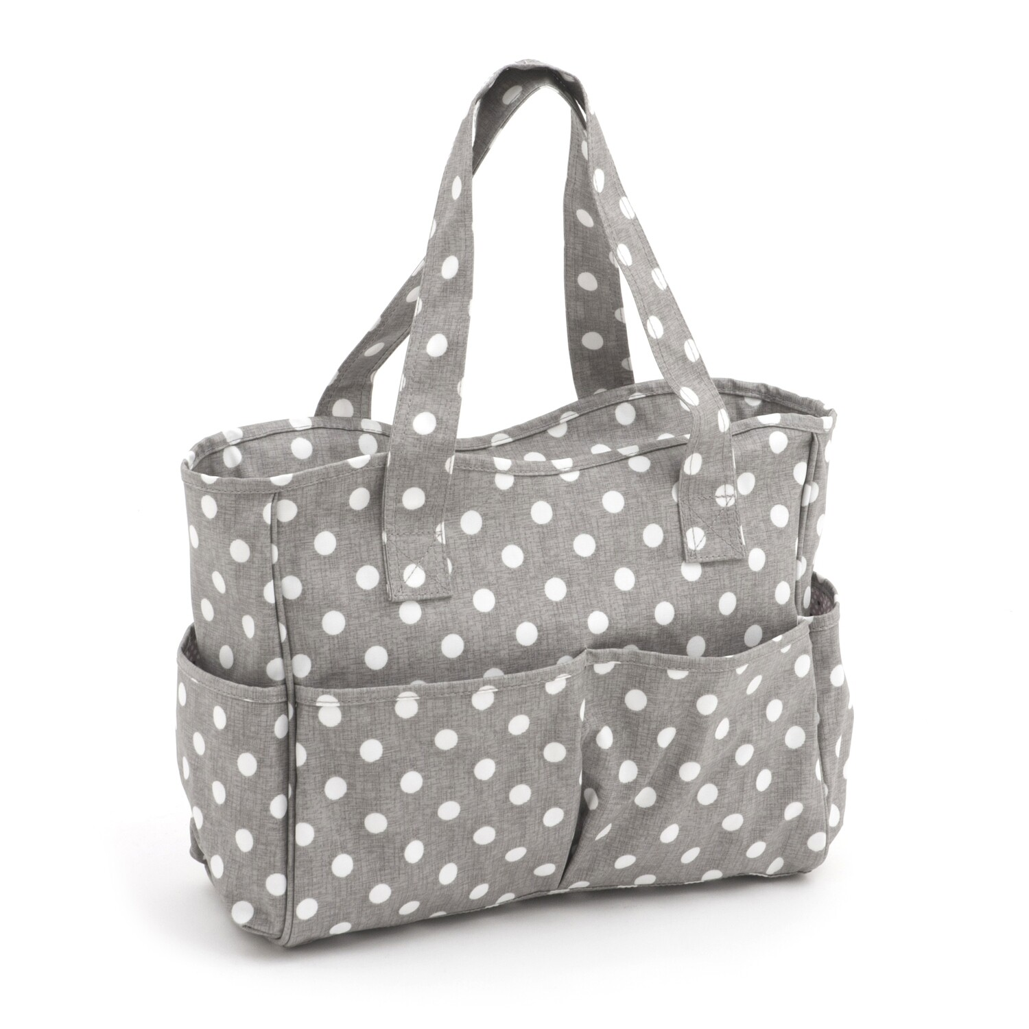 Craft Bag - Grey Linen Polka