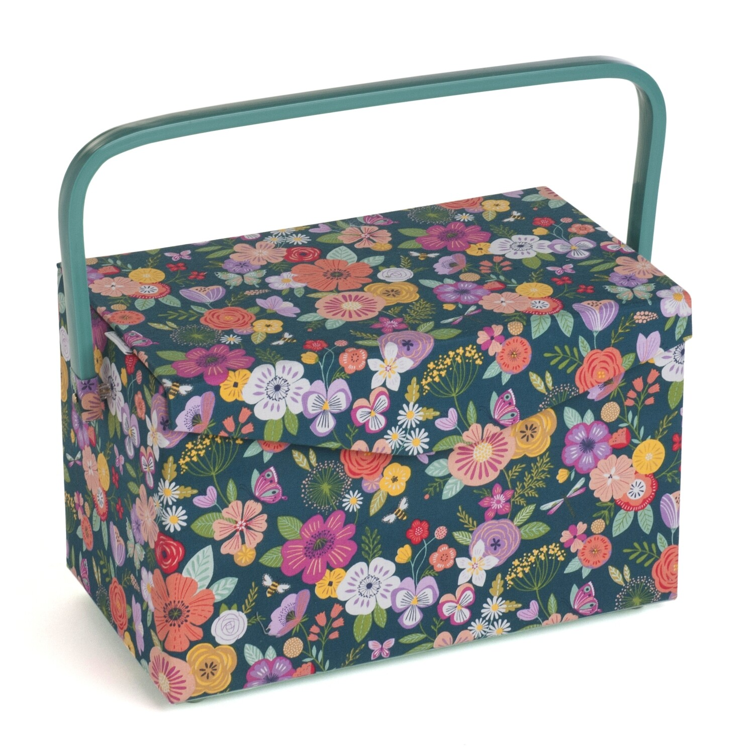Sewing Box fold over lid Medium - Floral Garden Teal