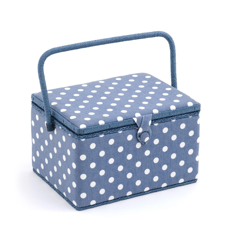 Sewing Box Large - Denim Polka Dot